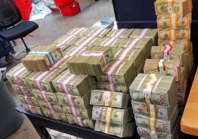 U.S. Border Patrol confiscated  more than $3 million in cash that two men were trying to smuggle into Mexico from California in August 2016. (U.S. Border Patrol via AP)
