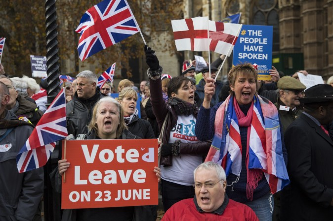 Pro-Brexit protesters outside the Houses of Parliament in London on Nov. 23. (Jack Taylor/Getty Images)