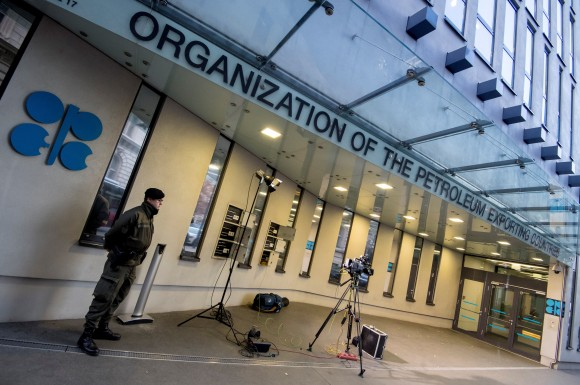 An Austrian soldier stands guard outside the OPEC headquarters on the eve of the 171th meeting of the Organization of the Petroleum Exporting Countries (OPEC) in Vienna, on Nov. 29, 2016. (JOE KLAMAR/AFP/Getty Images)