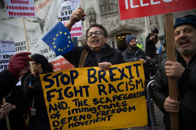 Anti-Brexit demonstrators outside the Supreme court building in London on Dec. 5. (DANIEL LEAL-OLIVAS/AFP/Getty Images)
