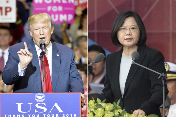 President-elect Donald Trump in Fayetteville, N.C., on Dec. 6. Taiwan President Tsai Ing-wen in Taipei, Taiwan, on Oct. 10. (Sara D. Davis/Getty Images & AP Photo/Chiang Ying-ying).