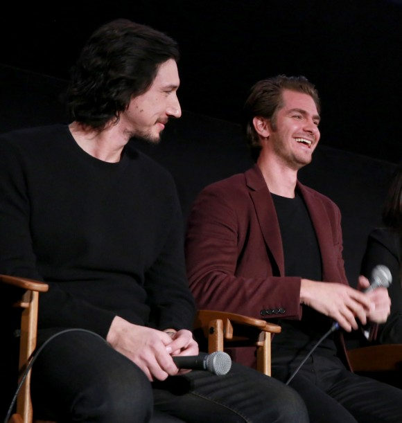 Actors Adam Driver and Andrew Garfield at the American Cinematheque conversation with Director Martin Scorsese and Producer Irwin Winkler at the Egyptian Theatre in Hollywood, Calif. on Dec. 3.  (Photo by Jonathan Leibson/Getty Images for Paramount Pictures)