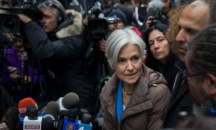 Green Party presidential candidate Jill Stein speaks at a news conference on Fifth Avenue across the street from Trump Tower Dec. 5, 2016 in New York City. Stein, who has launched recount efforts in Michigan and Wisconsin, spoke about demanding a statewide recount on constitutional grounds in Pennsylvania. (Angerer/Getty Images)