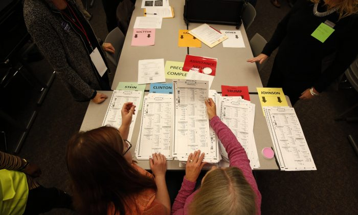 A recount of ballots cast in Oakland County, Michigan from the 2016 US presidential race takes place at the Oakland County Schools building in Waterford, Michigan on Dec. 5, 2016. (JEFF KOWALSKY/AFP/Getty Images)