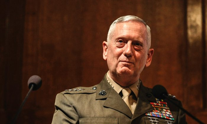 Gen. James Mattis, the head of U.S. Central Command, takes questions after delivering a lecture to the think tank Policy Exchange in London on Feb. 1, 2011. (AP Photo/Matt Dunham)