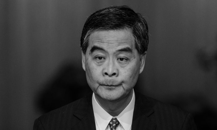 Hong Kong Chief Executive Leung Chun-ying holds a press conference to announce his not seeking re-election in Hong Kong on Dec. 9, 2016. (Anthony Wallace/AFP/Getty Images)