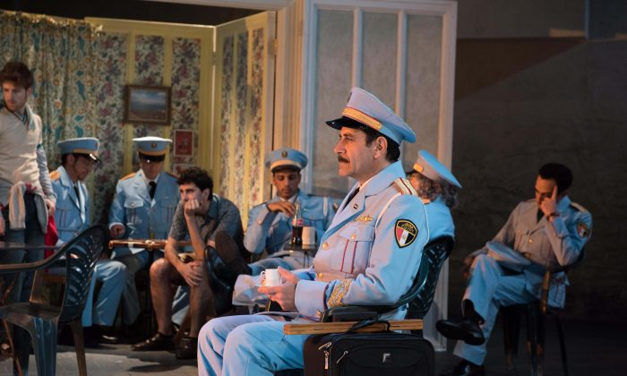 """Colonel Tewfig Zakaria, forefront (Tony Shalhoub) in the new musical """"The Band's Visit,"""" about an Egyptian band that is stranded overnight in an isolated Israeli town. (Ahron Foster)"""