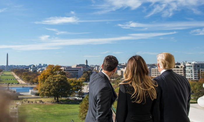 House Speaker Paul Ryan (R-WI) shows President-elect Donald Trump and his wife, Melania Trump the Speaker's Balcony at the U.S. Capitol in Washington, DC on Nov. 10, 2016. (Zach Gibson/Getty Images)