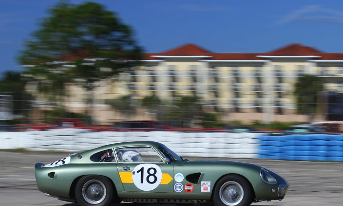 Robert Rawe brought this extremely rare 1963 Aston Martin DP214 to the HSR Classic 12 Hour at Sebring Pistons and Props, Dec. 1-4, 2016.. (Chris Jasurek/Epoch Times)