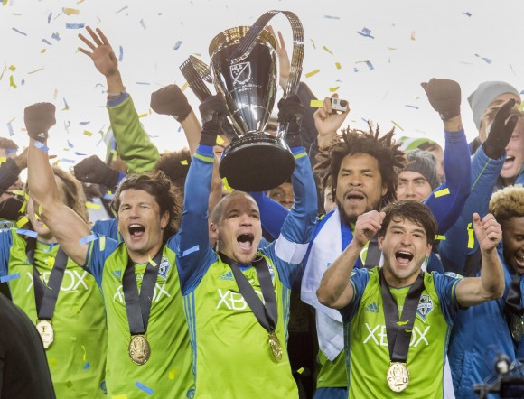 Seattle Sounders players celebrate after winning MLS Cup overTorontoFC in a sudden-death penalty shootoutinToronto on Dec. 10, 2016. (The Canadian Press/Frank Gunn)