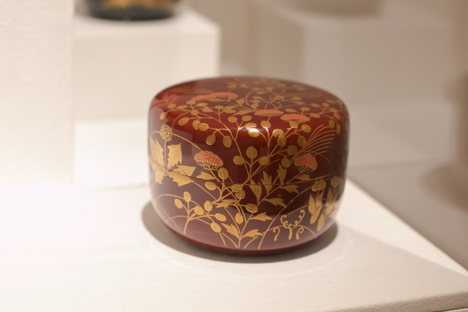 Tea caddy with spring and autumn plants, 1980, at the Erik Thomsen Gallery for Asia Week in New York on Dec. 8, 2016. (Benjamin Chasteen/The Epoch Times)