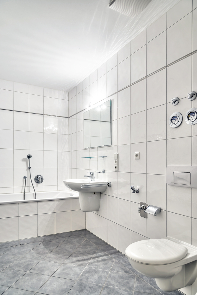 Bathroom fixtures are elevated off the floor to keep the space open and flowing. (Wolgang Zwanzger/Shutterstock)
