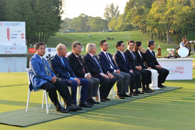 Dignitary line up at the UBS Hong Kong Open on Sunday Dec 11, 2016. (Eddie So)