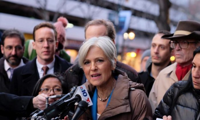 Green Party candidate Jill Stein holds a press conference at the federal courthouse in Philadelphia after a hearing on the Green Party's request for a statewide recount, Friday, Dec. 9, 2016. A federal judge allowed Wisconsin's presidential recount to move forward Friday as a another federal judge in Pennsylvania planned to take the weekend to decide on a Green Party-backed request to recount paper ballots and examine election computer systems for signs of hacking. Democrats and Republicans alike are criticizing her recount efforts as a ploy to raise her national profile for a future run. (Ed Hille/The Philadelphia Inquirer via AP)