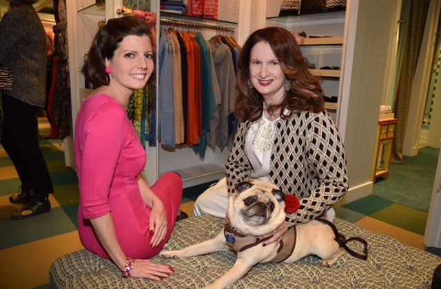 Sibylle Eschapasse (R) and Alison Minton on Nov. 29, 2016, Giving Tuesday, at the J. McLaughlin event to benefit the Animal Medical Center. (Annie Watt)