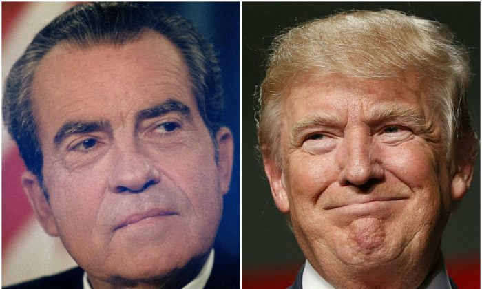 Former President Richard Nixon and president-elect Donald Trump.