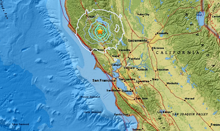 An earthquake hit Northern California at The Geysers, north of San Francisco (USGS)