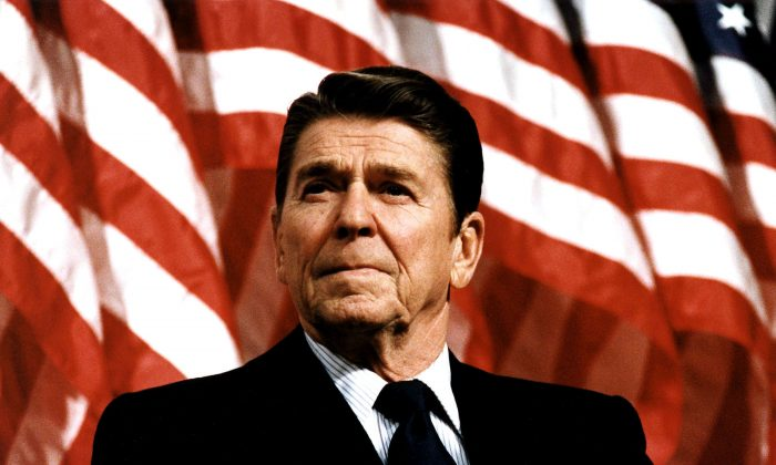 Former U.S. President Ronald Reagan speaks at a rally for Senator Durenberger on Feb. 8, 1982. (Photo by Michael Evans/The White House/Getty Images)