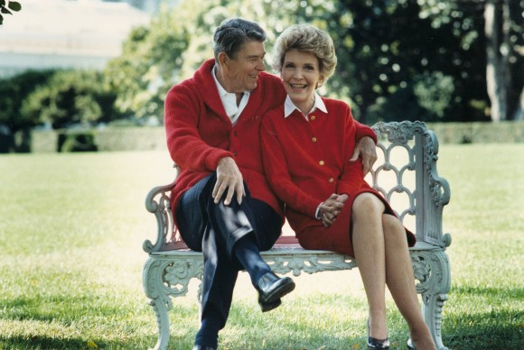 Former U.S. President Ronald Reagan and First Lady Nancy Reagan share a moment in this undated file photo. (Photo courtesy of the Ronald Reagan Presidental Library/Getty Images)