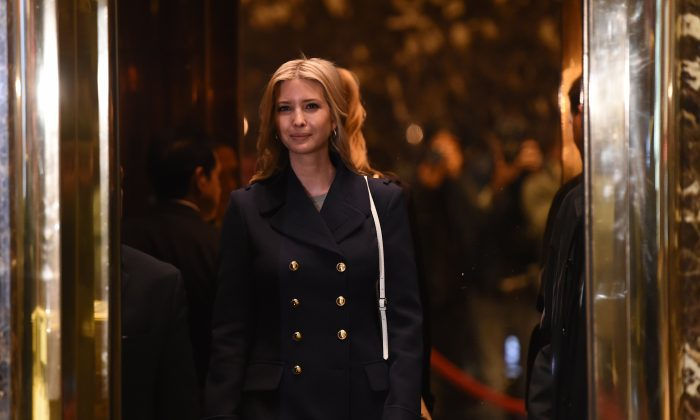 Ivanka Trump, daughter and part of the executive committee of US President-elect Donald Trump's transition team arrives at Trump Tower on another day of meetings in New York on Nov. 21, 2016. (TIMOTHY A. CLARY/AFP/Getty Images)