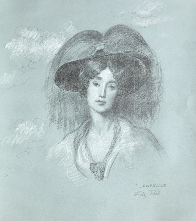 """""""Lady Peel, after Sir Thomas Lawrence,"""" 2016, sketch by Patricia Watwood. (Courtesy of Patricia Watwood)"""
