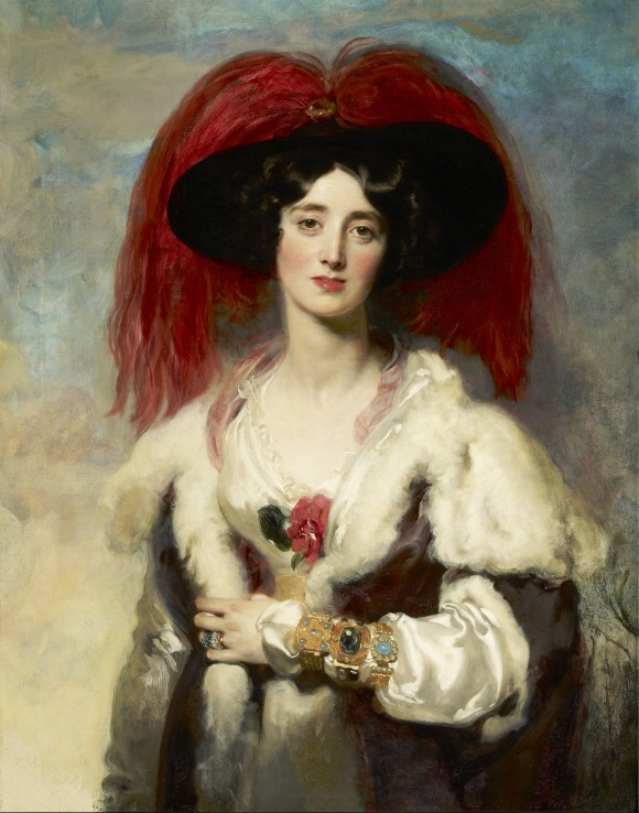 """""""Julia, Lady Peel,"""" 1827, by Sir Thomas Lawrence (1769–1830). Oil on canvas, 35 3/4 by 27 7/8 inches, The Frick Collection (Michael Bodycomb)"""