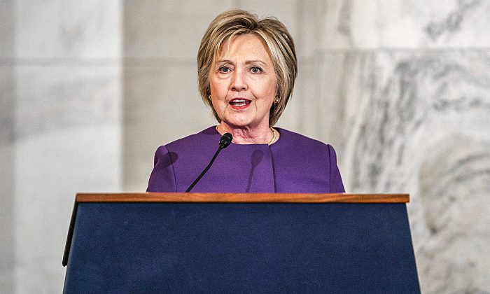 Former Secretary of State Hillary Clinton during a ceremony on Capitol Hill on Dec. 8. (AP PHOTO/EVAN VUCCI)