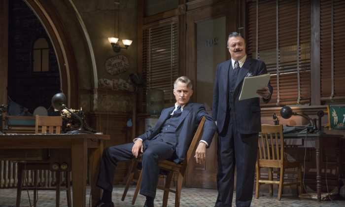"""(L–R)  Ace reporter Hildebrand """"Hildy"""" Johnson (John Slattery) wants to leave the newspaper business, but his managing editor Walter Burns (Nathan Lane) has other ideas, in """"The Front Page."""" (Julieta Cervantes)"""