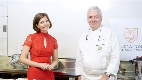 Sibylle Eschapasse and Chef Jean-Louis Dumonet at the International Culinary Center. (Melinda Martinez/Celebrity Taste Makers)