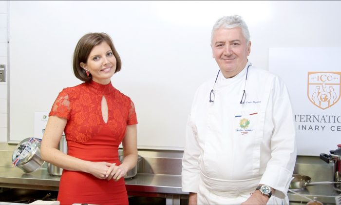 Sibylle Eschapasse and Chef Jean-Louis Dumonet at the International Culinary Center. (Melinda Martinez/Celebrity Taste Makers)