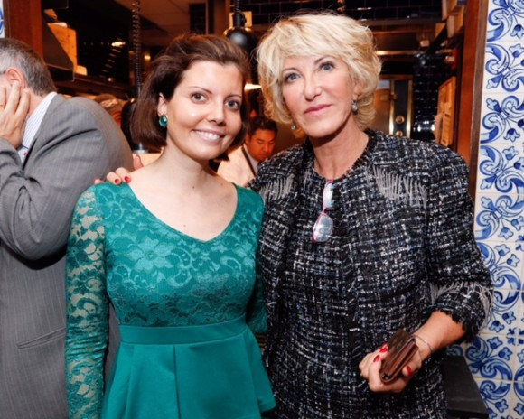 Sibylle Eschapasse (L) and Dominique Serra at Brasserie Georgette in New York at the launch of the 27th edition of the Rallye Aicha des Gazelles. (Vladimir Weinstein / BF)