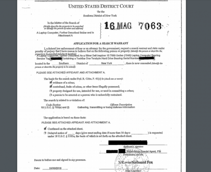 The warrant (FBI)