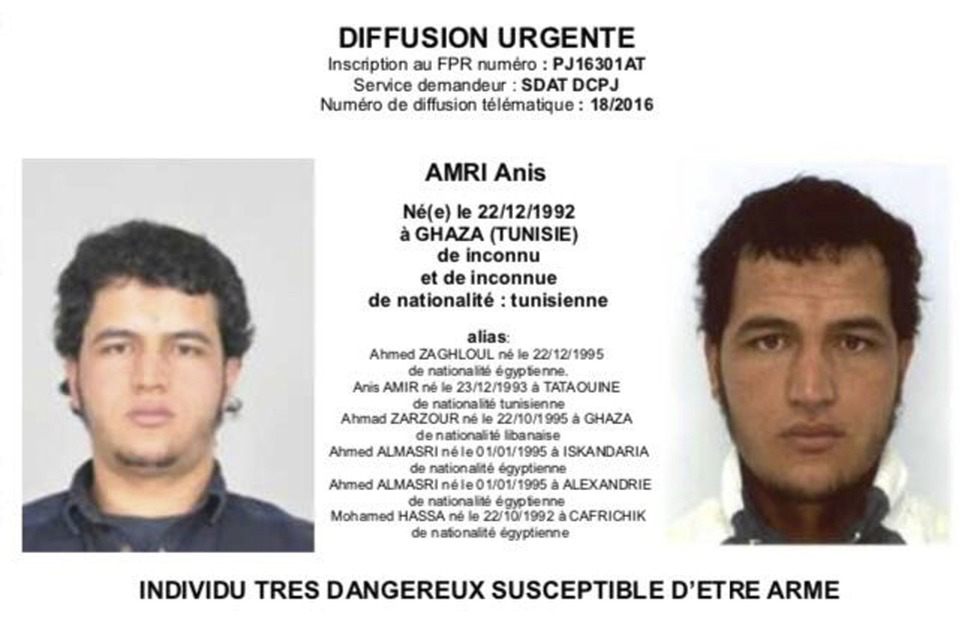 Tunisian national Anis Amri is wanted by German police for an alleged involvement in the Berlin Christmas market attack. (Police via AP)