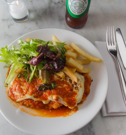 The Napier chicken parm with ham, cheese, and Napoli sauce. (Annie Wu/Epoch Times)