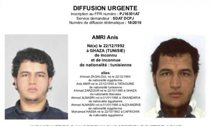 The photo which was sent to European police authorities shows Tunisian national Anis Amri who is wanted by German police for an alleged involvement in the Berlin Christmas market attack on Dec. 19, 2016. (Police via AP)