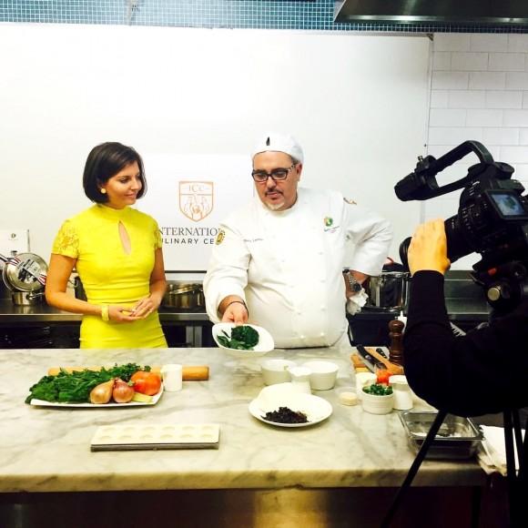 Sibylle Eschapasse and master chef Pierre Landet from Felix restaurant taping a segment for Celebrity Taste Makers at the International Culinary Center. (Karen Dumonet)