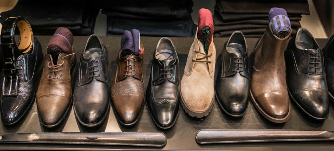 Men's shoes at the SAYKI grand opening and holiday cocktail event at their first store in New York on Dec. 15, 2016. (Benjamin Chasteen/Epoch Times)