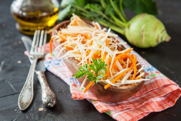 Salad from a kohlrabi with carrots (NatalyaBond/Shutterstock)
