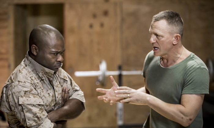 "(L–R) General Othello (David Oyelowo) succumbs to the insinuations of his underling Iago (Daniel Craig) in ""Othello.""  (Chad Batka)"