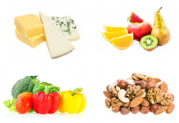 ASIER ROMERO (CHEESE); JURRA8 (FRUIT); EAKS1979 (VEGETABLES); MADLEN (NUTS); IFONG/SHUTTERSTOCK (PLATE)