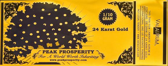 An Aurum note manufactured by Valaurum Inc. for Peak Prosperity. (Valaurum Inc.)