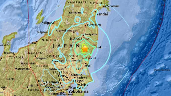 The earthquake that hit Japan (USGS)