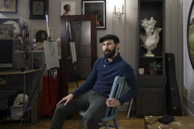 Artist Gregory Mortenson at his studio in Manhattan, New York, on Dec. 11, 2016. (Samira Bouaou/Epoch Times)