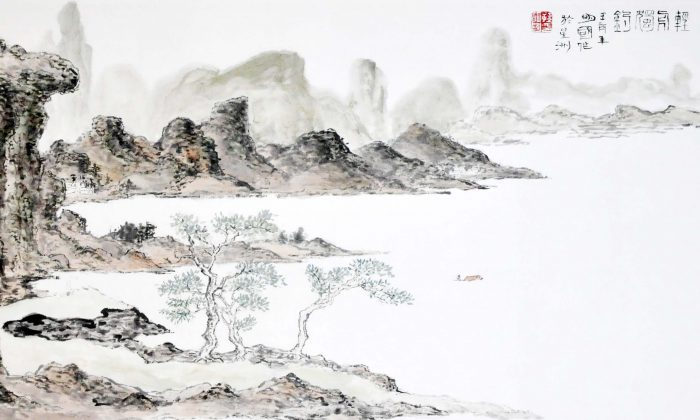 Chinese ink landscape painting by Sun Mingguo/Epoch Times