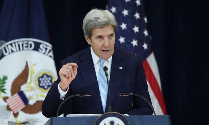 Secretary of State John Kerry speaks about Israeli-Palestinian policy at the State Department in Washington, on Dec. 28, 2016. (AP Photo/Andrew Harnik)