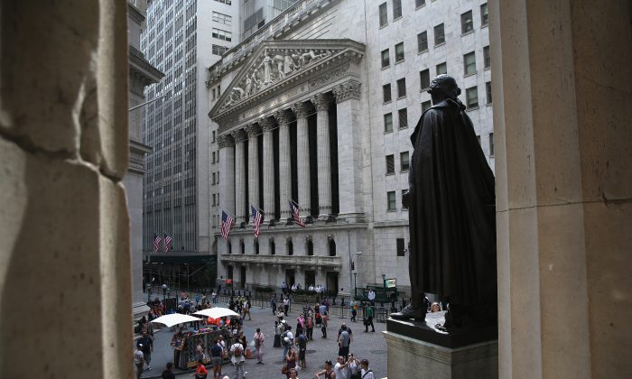 The New York Stock Exchange in Manhattan on July 30, 2014. (John Moore/Getty Images)