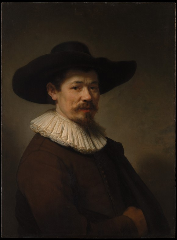 Portrait of Herman Doomer, 1640, by Rembrandt van Rijn (Dutch, Leiden 1606–1669 Amsterdam).  Oil on wood, 29 5/8 by 21 3/4 inches. H. O. Havemeyer Collection, Bequest of Mrs. H. O. Havemeyer, 1929. (The Metropolitan Museum of Art)