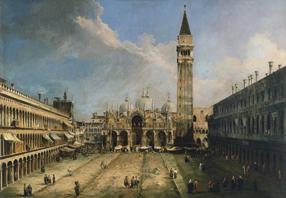Depiction of the repaving of Piazza San Marco in 1723, designed by Andrea Tirali, by Canaletto. Oil on canvas. The Metropolitan Museum of Art.  (Public Domain)