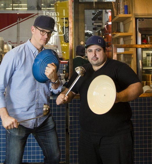 These guys don't mess around with their soups: Ben LeBlanc (L) and David Santos. (Samira Bouaou/Epoch Times)