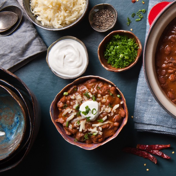 Short Rib Chili. The heirloom beans are sourced from Rancho Gordo in California. (Good Stock makes elevated versions of the classics, such as its Roasted Tomato soup and Short Rib Chili, as well as more creative soups, like Rabbit Pot Pie. (Ashley Sears/AshleySears.com)